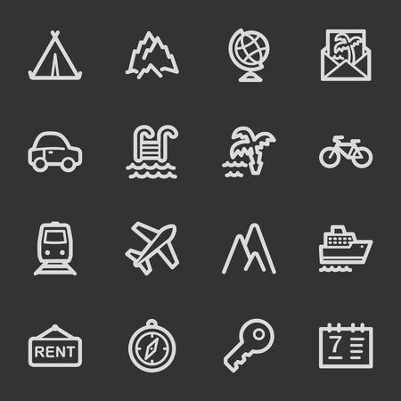 Travel web icon set 1, grey set Vector
