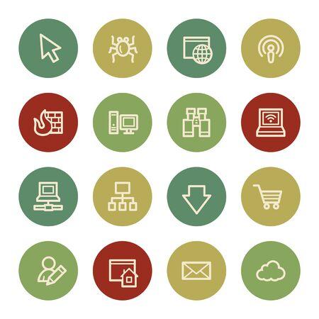 bugs shopping: Iconos de la web de Internet, el color de la vendimia