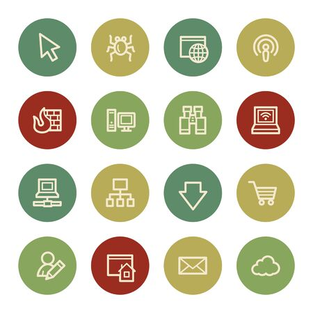 bugs shopping: Internet web icons, vintage color