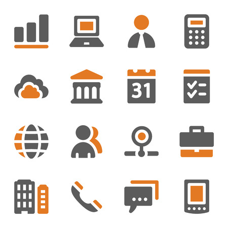 Business web icons set Illustration