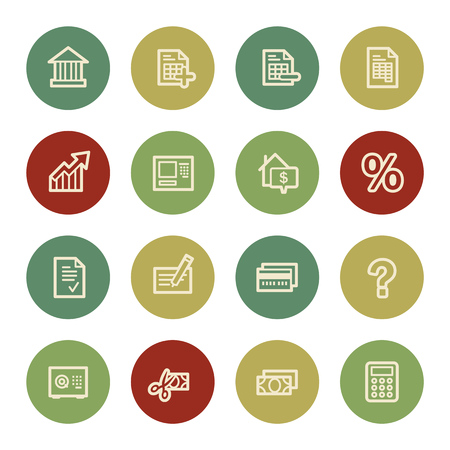 Banking web icons, vintage color Vector