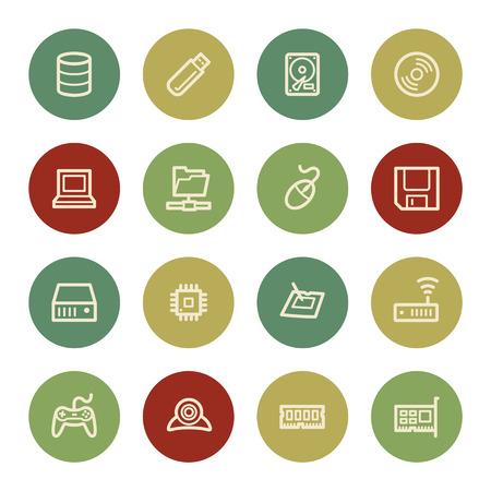 mouse pad: Computer components web icon set 1, vintage color