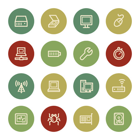 Computer components web icon set 2, vintage color Vector