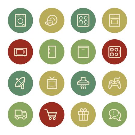 home appliances: Electrodom�sticos iconos web, color de la vendimia Vectores