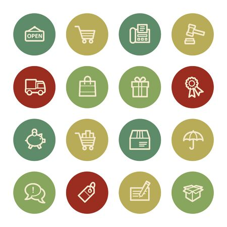 web icons: Shopping web icons, vintage color
