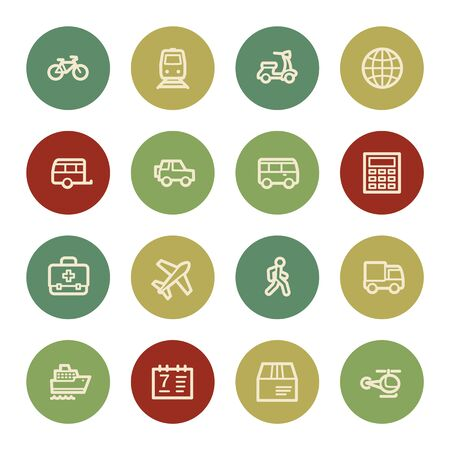web icons: Transport web icons, vintage color Illustration