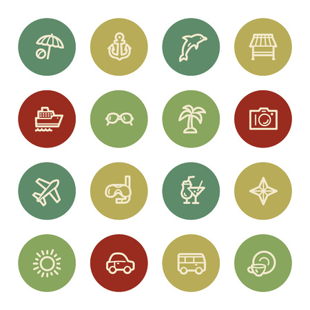 Vacation web icon set 1, vintage color Vector