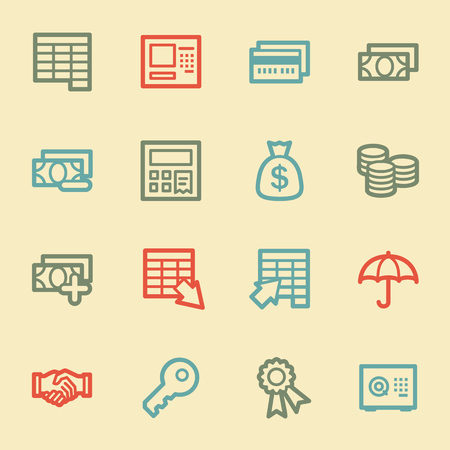 vaulted door: Finance and Banking web icons, retro color