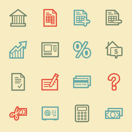 Banking web icons, retro color Vector