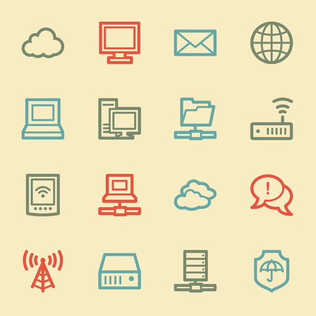 access point: Cloud computing & internet web icons, retro color