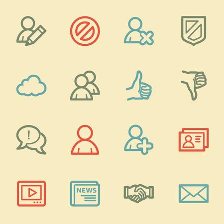 Community. Social media web icons, retro color Vector