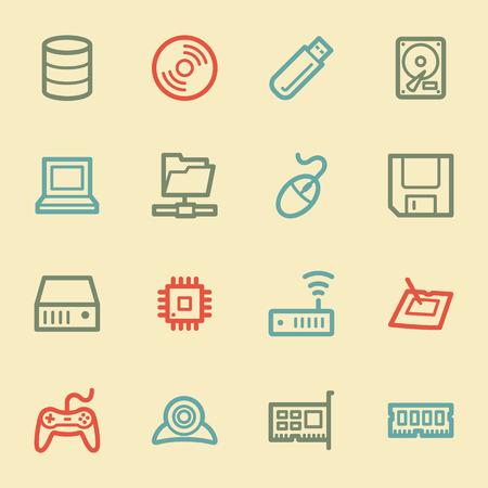 components: Computer components web icon set 1, retro color Illustration