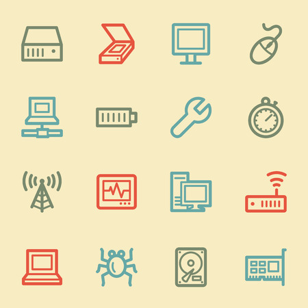 Computer components web icon set 2, retro color Vector