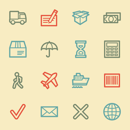 air liner: Delivery web icons, retro color
