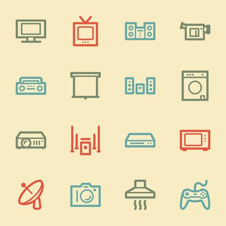 Home Appliance web icons, retro color Vector