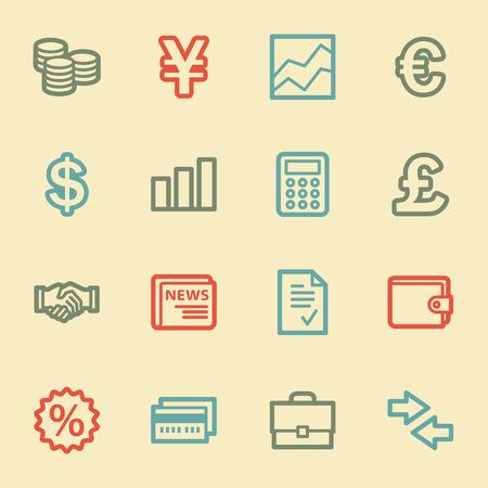Finance web icons, retro color Vector