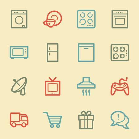 Home appliances web icons, retro color Vector