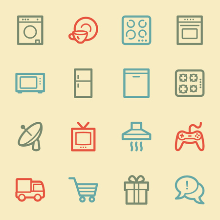 gas laundry: Home appliances web icons, retro color