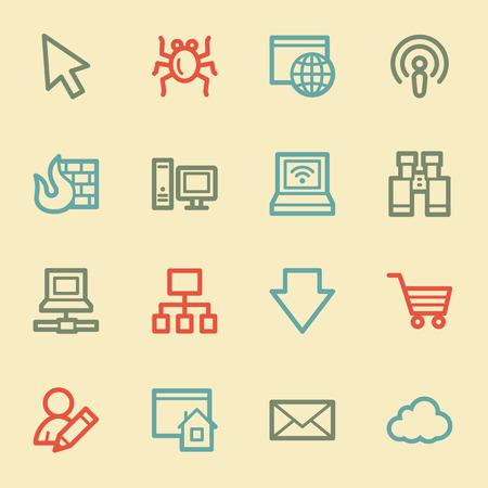 bugs shopping: Iconos de la web de Internet, color retro