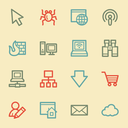 Internet web icons, retro color Vector