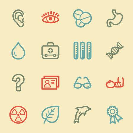 Medicine web icon set 2, retro color Vector