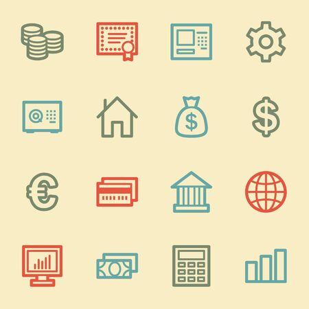 Money web icons, retro color Vector