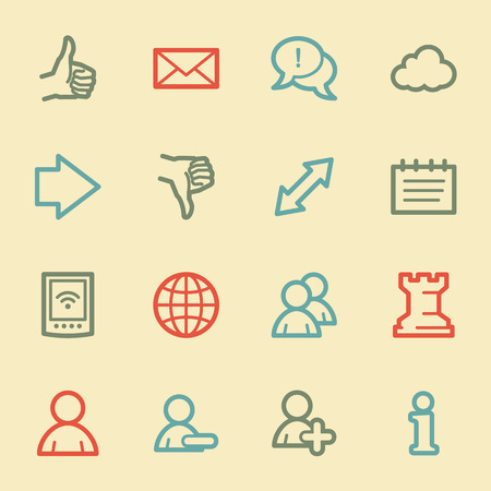 Social media web icons, retro color Vector