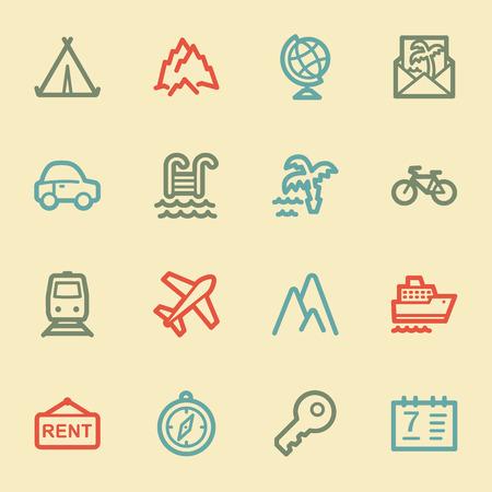 Travel web icon set 1, retro color Vector
