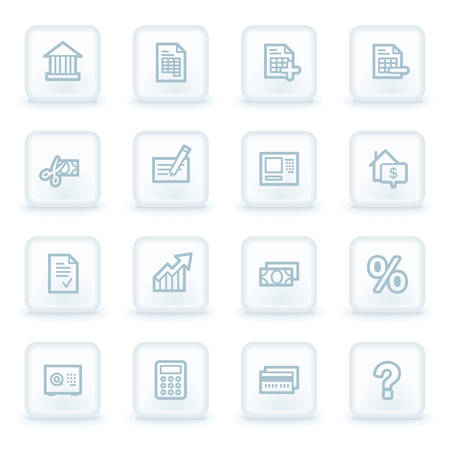 Banking web icons, white square buttons Vector
