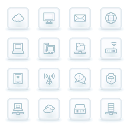 square buttons: Cloud computing & internet web icons, white square buttons Illustration