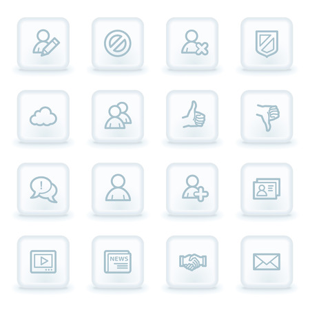 Community. Social media web icons, white square buttons Vector