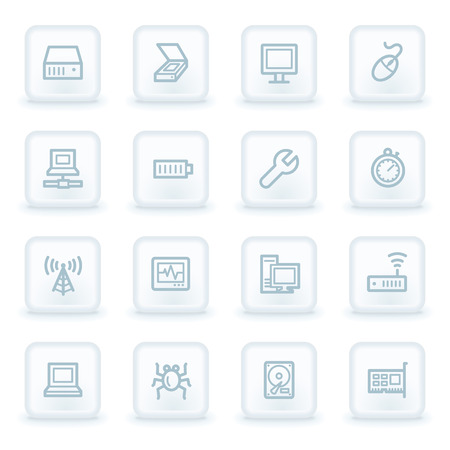 computer repair concept: Computer components web icon set 2, white square buttons