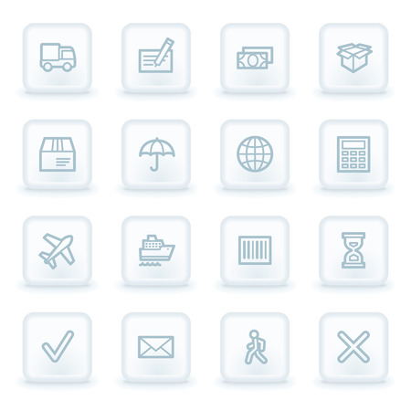 air liner: Delivery web icons, white square buttons