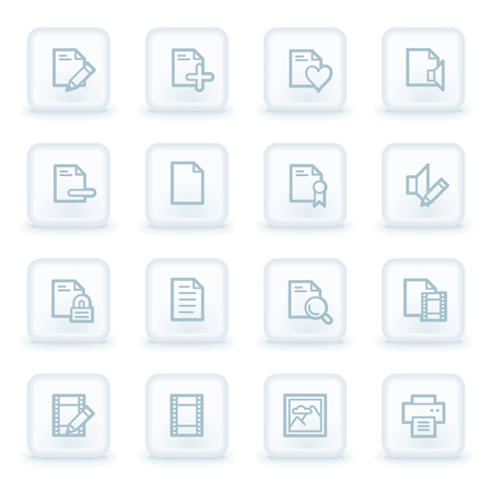 photo printer: Document web icon set 1, white square buttons