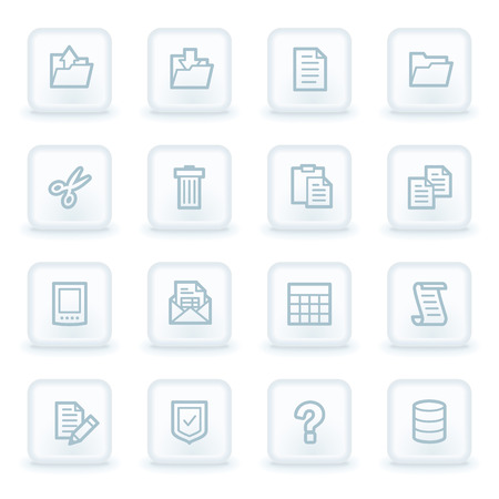 Document web icon set 2, white square buttons Vector