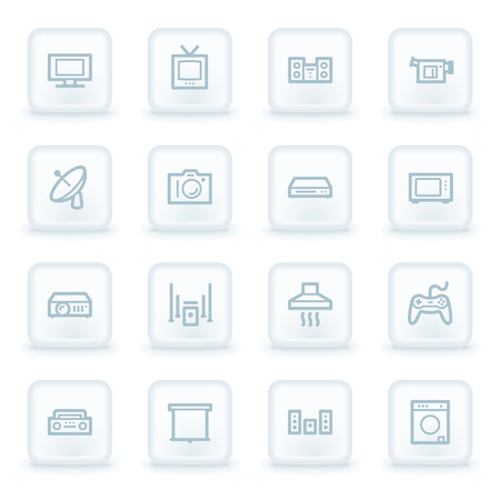 Home Appliance web icons, white square buttons Vector
