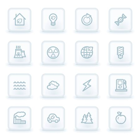 bio diesel: Green ecology web icon set 1, white square buttons