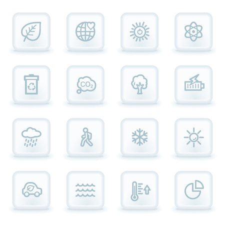 square buttons: Green ecology web icon set 2, white square buttons Illustration