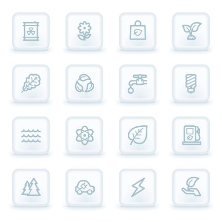 Green ecology web icon set 3, white square buttons Vector