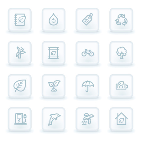 energies: Green ecology web icon set 4, white square buttons
