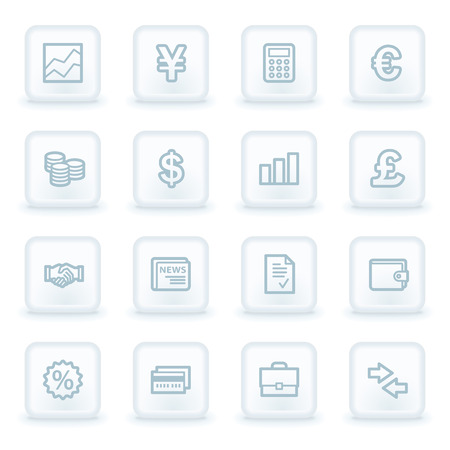 Finance web icons,  white square buttons Vector