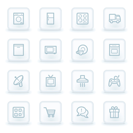gas laundry: Home appliances web icons,  white square buttons