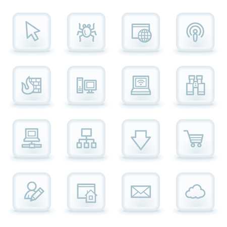 bugs shopping: Internet web iconos, botones cuadrados blancos Vectores