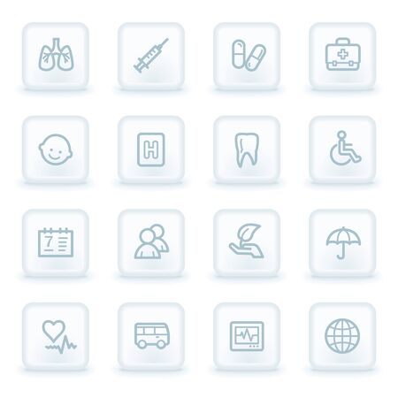 square buttons: Medicine web icon set 1,  white square buttons