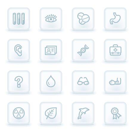 Medicine web icon set 2,  white square buttons Vector