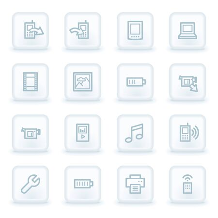 Mobile content web icons,  white square buttons Vector