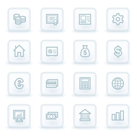 Money  web icons,  white square buttons Vector