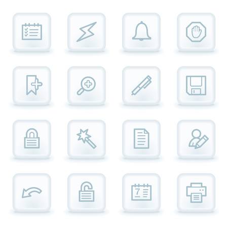 scheduler: Scheduler web icons,  white square buttons