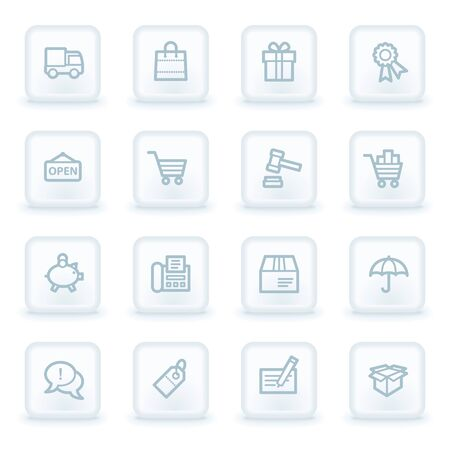 square buttons: Shopping web icons,  white square buttons Illustration