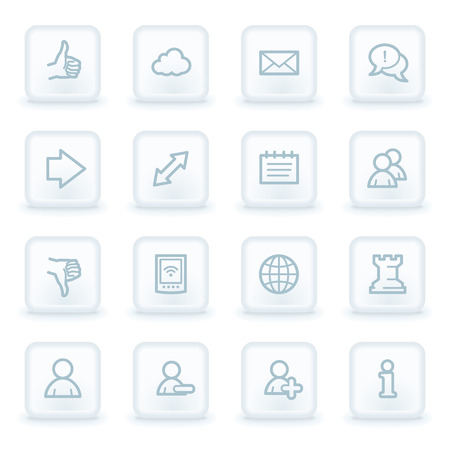 Social media web icons,  white square buttons Vector